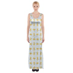 Spaceships Pattern Maxi Thigh Split Dress