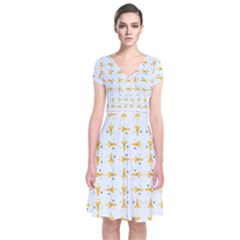 Spaceships Pattern Short Sleeve Front Wrap Dress