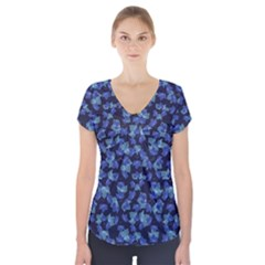 Autumn Leaves Motif Pattern Short Sleeve Front Detail Top