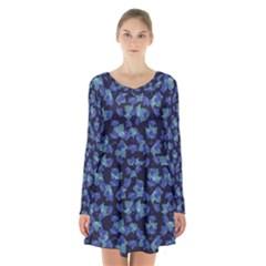 Autumn Leaves Motif Pattern Long Sleeve Velvet V-neck Dress