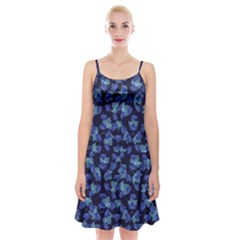 Autumn Leaves Motif Pattern Spaghetti Strap Velvet Dress