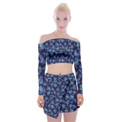 Autumn Leaves Motif Pattern Off Shoulder Top With Skirt Set