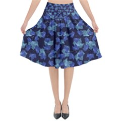 Autumn Leaves Motif Pattern Flared Midi Skirt