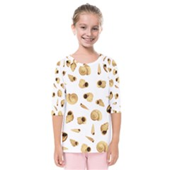 Shell Pattern Kids  Quarter Sleeve Raglan Tee