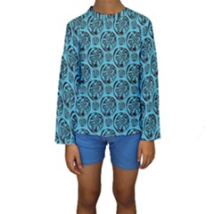 Turquoise Pattern Kids  Long Sleeve Swimwear