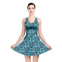 Turquoise Pattern Reversible Skater Dress
