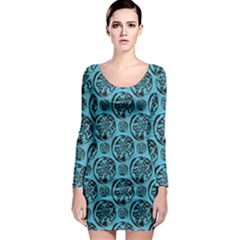 Turquoise Pattern Long Sleeve Bodycon Dress