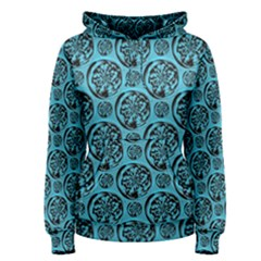 Turquoise Pattern Women s Pullover Hoodie