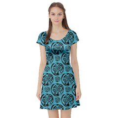 Turquoise Pattern Short Sleeve Skater Dress