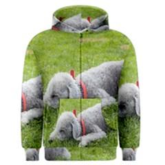 Bedlington Terrier Sleeping Men s Zipper Hoodie