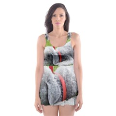Bedlington Terrier Sleeping Skater Dress Swimsuit