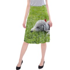 Bedlington Terrier Sleeping Midi Beach Skirt