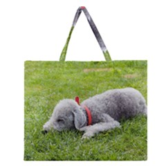 Bedlington Terrier Sleeping Zipper Large Tote Bag