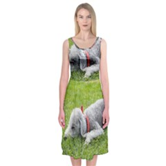 Bedlington Terrier Sleeping Midi Sleeveless Dress