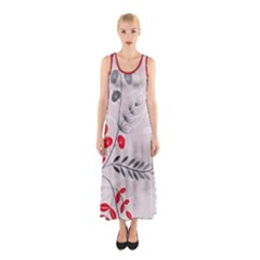 Abstract Illustration Of A Background With Floral And Grunge Sleeveless Maxi Dress