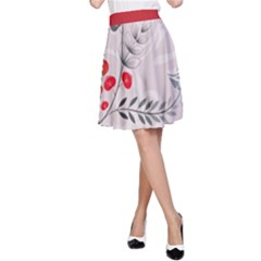 Abstract Illustration Of A Background With Floral And Grunge A-Line Skirt
