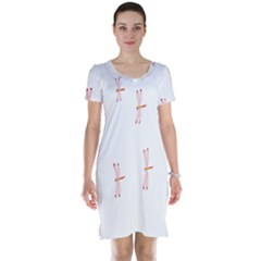 Animal Dragonfly Fly Pink Short Sleeve Nightdress
