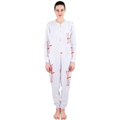Animal Dragonfly Fly Pink OnePiece Jumpsuit (Ladies)
