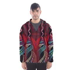 Artistic Blue Gold Red Hooded Wind Breaker (Men)
