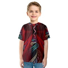 Artistic Blue Gold Red Kids  Sport Mesh Tee