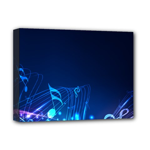 Abstract Musical Notes Purple Blue Deluxe Canvas 16  x 12