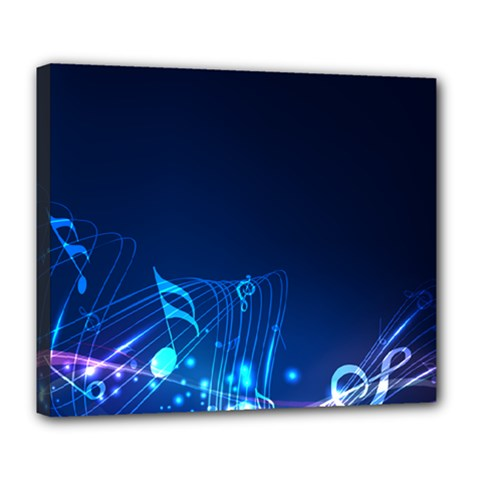 Abstract Musical Notes Purple Blue Deluxe Canvas 24  x 20