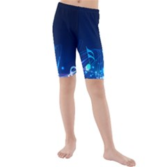Abstract Musical Notes Purple Blue Kids  Mid Length Swim Shorts