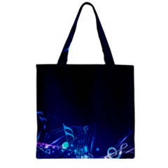 Abstract Musical Notes Purple Blue Zipper Grocery Tote Bag