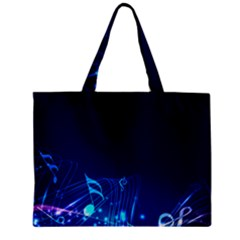 Abstract Musical Notes Purple Blue Zipper Mini Tote Bag