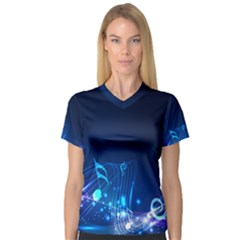 Abstract Musical Notes Purple Blue Women s V-Neck Sport Mesh Tee