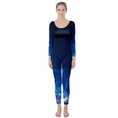 Abstract Musical Notes Purple Blue Long Sleeve Catsuit
