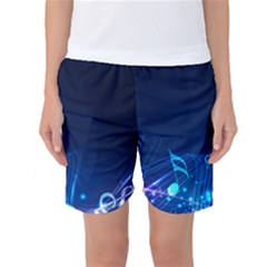 Abstract Musical Notes Purple Blue Women s Basketball Shorts