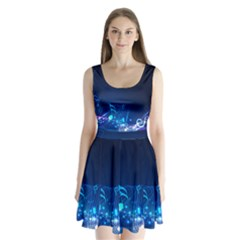 Abstract Musical Notes Purple Blue Split Back Mini Dress