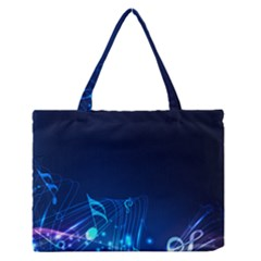 Abstract Musical Notes Purple Blue Medium Zipper Tote Bag