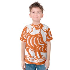 Chinese Zodiac Cow Star Orange Kids  Cotton Tee