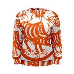 Chinese Zodiac Cow Star Orange Women s Sweatshirt