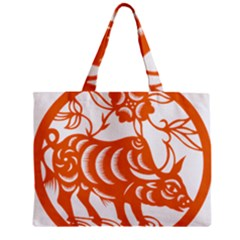 Chinese Zodiac Cow Star Orange Zipper Mini Tote Bag