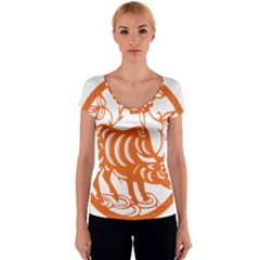 Chinese Zodiac Cow Star Orange Women s V-Neck Cap Sleeve Top