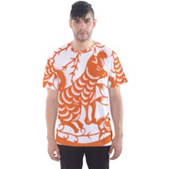 Chinese Zodiac Dog Star Orange Men s Sport Mesh Tee