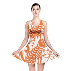 Chinese Zodiac Dog Star Orange Reversible Skater Dress