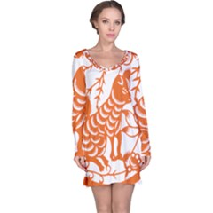 Chinese Zodiac Dog Star Orange Long Sleeve Nightdress