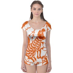Chinese Zodiac Dog Star Orange Boyleg Leotard