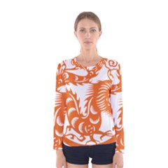 Chinese Zodiac Dragon Star Orange Women s Long Sleeve Tee