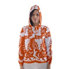 Chinese Zodiac Dragon Star Orange Hooded Wind Breaker (Women)