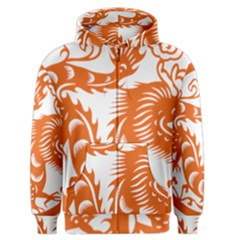 Chinese Zodiac Dragon Star Orange Men s Zipper Hoodie