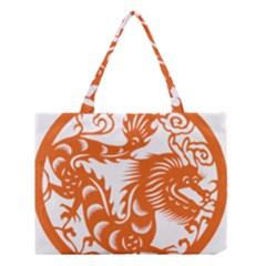Chinese Zodiac Dragon Star Orange Medium Tote Bag