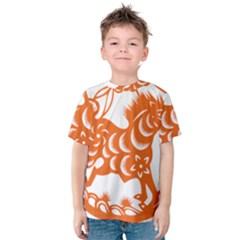 Chinese Zodiac Horoscope Horse Zhorse Star Orangeicon Kids  Cotton Tee