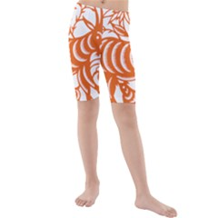 Chinese Zodiac Goat Star Orange Kids  Mid Length Swim Shorts
