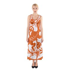 Chinese Zodiac Horoscope Monkey Star Orange Sleeveless Maxi Dress