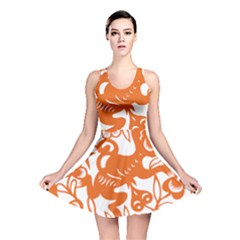 Chinese Zodiac Horoscope Monkey Star Orange Reversible Skater Dress